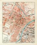 Turin historischer Stadtplan Karte Lithographie ca. 1909