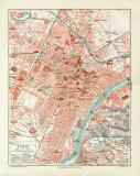 Turin historischer Stadtplan Karte Lithographie ca. 1912