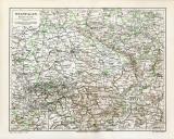Westfalen historische Landkarte Lithographie ca. 1908
