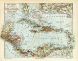 Westindien Mittelamerika Karibik historische Landkarte...