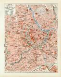 Wien historischer Stadtplan Karte Lithographie ca. 1912