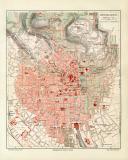 Wiesbaden historischer Stadtplan Karte Lithographie ca. 1912