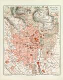 Wiesbaden historischer Stadtplan Karte Lithographie ca. 1918
