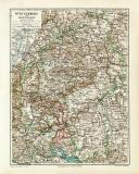 Württemberg & Hohenzollern historische Landkarte...
