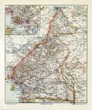 Kamerun historische Landkarte Lithographie ca. 1912