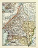Kamerun historische Landkarte Lithographie ca. 1914