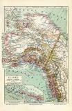 Alaska historische Landkarte Lithographie ca. 1914