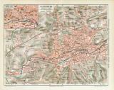 Elberfeld historischer Stadtplan Karte Lithographie ca. 1914