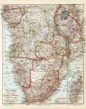 Südafrika historische Landkarte Lithographie ca. 1914