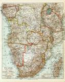 Südafrika historische Landkarte Lithographie ca. 1918