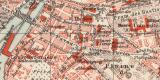 Genf historischer Stadtplan Karte Lithographie ca. 1908