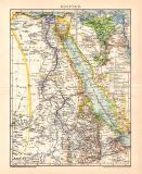 Farbige Lithographie aus 1891 zeigt eine Landkarte von...