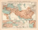 Farbige Lithographie aus 1891 zeigt Karten des Reiches...
