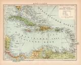 Farbige Lithographie aus 1891 zeigt eine Landkarte der...